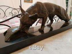 Sculpture Period Art Deco / Fox Bronze Sign