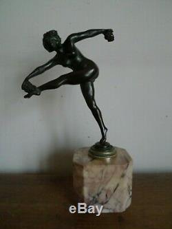 Sculpture Statue Bronze Dancer On Marble 1930 Art Deco