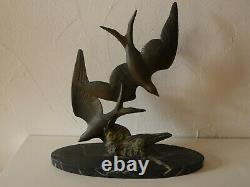 Sculpture Swallows Of M. Font Marble Art Deco 1920 1930