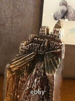 Sculpture Trophy En Bronze, Signed Louis Derbré, Edf 1992 Art