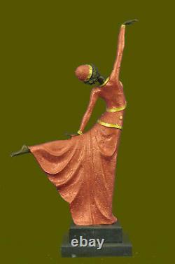 Signed Art Deco Chiparus Ventre Bronze Dancer Marble Sculpture Statue Figure