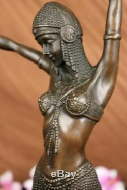 Signed Art Deco Dancer Dancer Bronze Sculpture Marble Statue Figurine