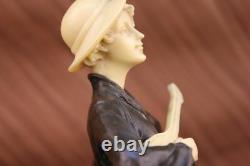 Signed Art Nouveau Beautiful Guitar Bronze Reader And Os Sculpture Hot Fonte