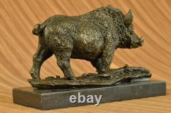 Signed Barye Wild Boar Pig Bronze Sculpture Figure Art Deco Deco Home