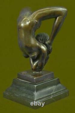 Signed Bronze Sculpture Art Deco Very Detailed Chair Gymnast Statue Figure