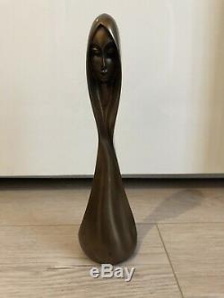 Signed Bronze Statue Giovanni Schoeman Female Double Face Art Sculpture Rare 1975