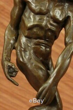 Signed Chair Man Rodin Sculpture Bronze Statue Abstract Modern Home