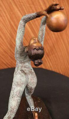 Signed Original Flesh Erotic Art Gymnast Acrobat Bronze Statue Nr