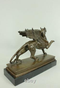 Signed Roche Griffin Bronze Marble Sculpture Statue Art Deco Mythical Figure