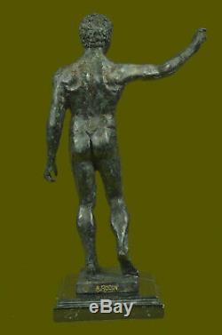 Signed Rodin Modern Abstract Art Deco Male Nude Torso Bronze Sculpture Figurine