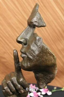 Signed Salvador Dali Abstract Man Hush On Bronze Sculpture Modern Wax Art