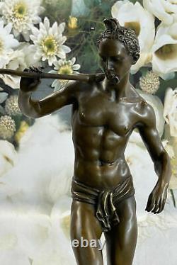 Signed Serpent Charmer Bronze Marble Sculpture Art Deco Figurine Base Decor