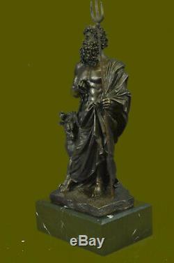 Signed With Greek God Pluto Dog Cast Bronze Sculpture Figurine Statue Art Deco