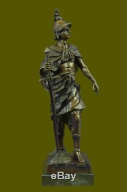 Signedpicaultroman Bronze Bust Bronze Sculpture Base Marble Art Deco