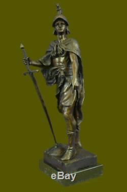 Signéepicaultromain Soldier Bust Bronze Sculpture Marble Base Art Deco