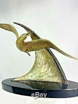 Splend. Gull Flight Sculpture Signed Guy E. Bronze Statue Art Deco 1930 Ca.