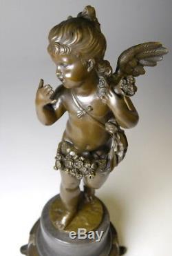 Splendid Art Nouveau Bronze Sculpture Signed E. Flat