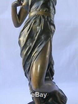 Statue Ancient Sculpture Diane Julien Caussé Art Nouveau Woman Bronze Bow