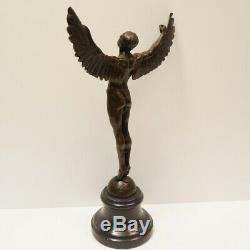Statue Angel Icarus Sculpture Nude Art Deco Style Art Nouveau Bronze Massif If