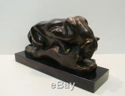 Statue Animal Cougar Sculpture Style Art Deco Style Art Nouveau Solid Bronze