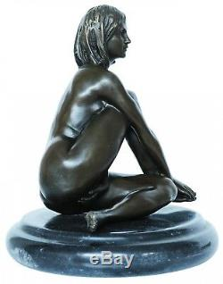 Statue Eroticism Art Woman Bronze Sculpture Figurine 17cm