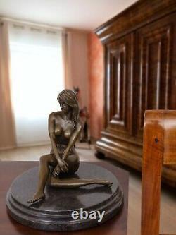 Statue Eroticism Women's Art Bronze Sculpture Figure 19cm