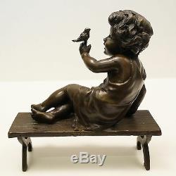 Statue Sculpture Bird Garcon Style Art Deco Style Art Nouveau Solid Bronze Si