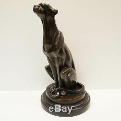 Statue Sculpture Cheetah Animal Style Art Deco Art Nouveau Bronze Massi