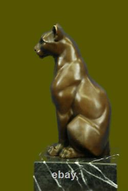 Statue Sculpture Cougar Wild Life Art Deco Style New Bronze Signed