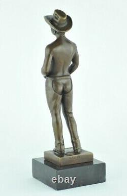 Statue Sculpture Cowboy Sexy Style Art Deco Solid Bronze Sign