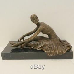 Statue Sculpture Dancer Charleston Art Deco Style Bronze Massive Sign