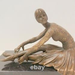 Statue Sculpture Dancer Charleston Style Art Deco Massive Bronze Sign