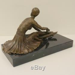 Statue Sculpture Dancer Charleston Style Art Deco Solid Bronze Sign
