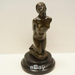 Statue Sculpture Dancer Naked Sexy Pin-up Art Deco Style Massive Bronze