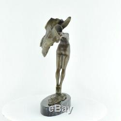 Statue Sculpture Dancer Scarf Naked Sexy Style Art Deco Bronze Massive Sign