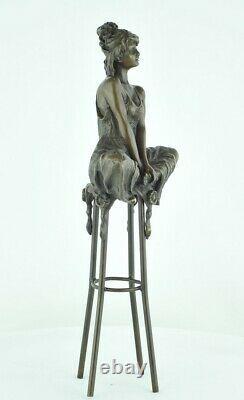 Statue Sculpture Demoiselle Sexy Style Art Deco Massive Bronze Sign