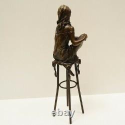 Statue Sculpture Demoiselle Sexy Style Art Deco Style Art Nouveau Bronze Massive Bronze
