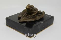 Statue Sculpture Frog Animal Style Art Deco Solid Bronze Sign
