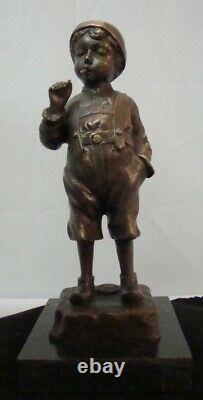 Statue Sculpture Garcon Smoker Style Art Deco Style Art New Solid Bronze Si