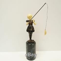 Statue Sculpture Girl Fishery Style Art Deco Style Art Nouveau Bronze Massi