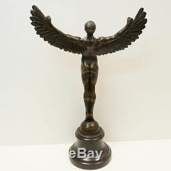 Statue Sculpture Icarus Angel Nude Style Art Deco Style Art Nouveau Solid Bronze Si