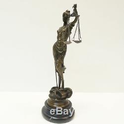 Statue Sculpture Justice Themis Art Deco Style Bronze Massive