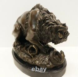 Statue Sculpture Lion Animal Style Art Deco Style Art Nouveau Massive Bronze S