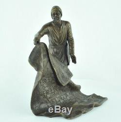Statue Sculpture Marchand Carpet Oriental Art Deco Style Bronze Massive Sign
