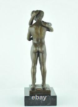 Statue Sculpture Naked Couple Sexy Style Art Deco Bronze Massive Sign