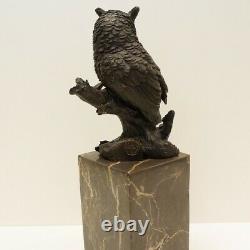 Statue Sculpture Owl Owl Bird Animal Bird Style Art Deco Massive Bronze Si