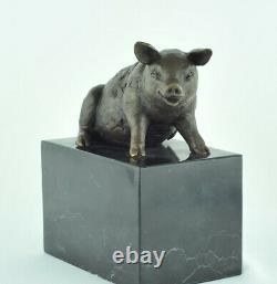Statue Sculpture Pig Animal Style Art Deco Solid Bronze Sign