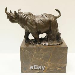 Statue Sculpture Rhinoceros Animal Style Art Deco Solid Bronze Sign