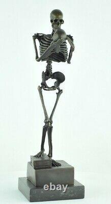 Statue Sculpture The Skeleton Thinker Style Art Deco Massive Bronze Sign