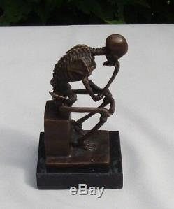 Statue Sculpture The Skeleton Thinker Style Art Deco Solid Bronze Sign